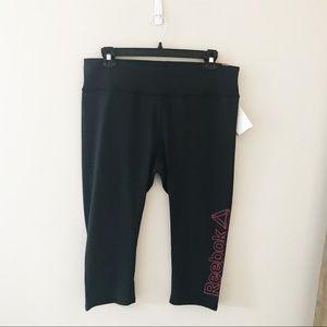 Reebok Plus Size Black Skinny Capri Workout Pant